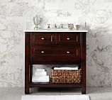 Classic Single Sink Console, Espresso Finish, Carrara Marble & Chrome Finish Knobs