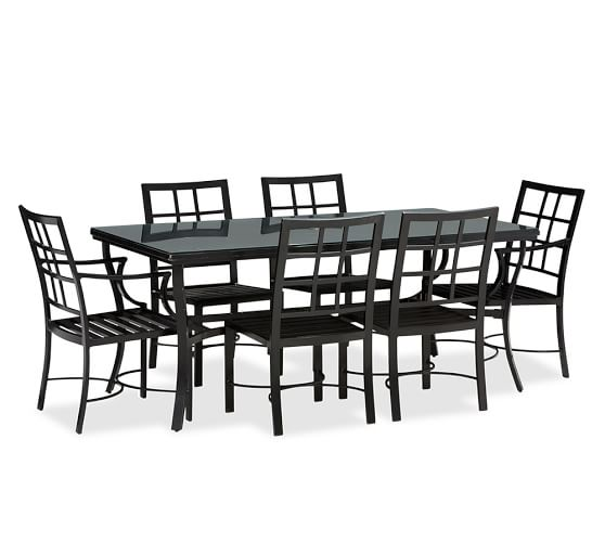 Riviera Rectangular Table Set (Table, Glass Top + 4 Side & 2 Armchairs)