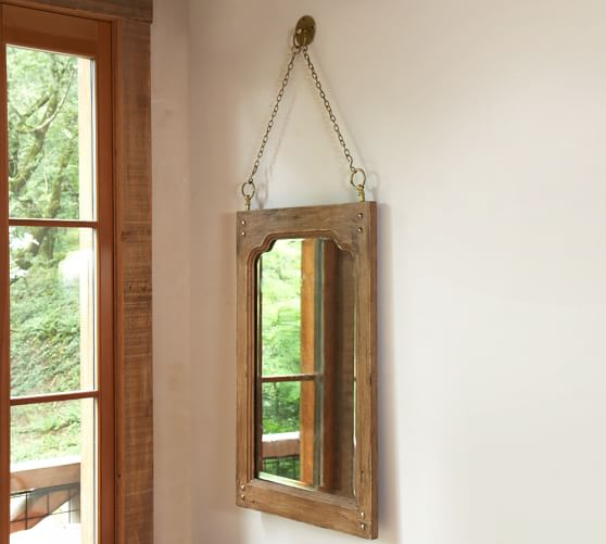 Rogan Mirror with Chain Mirror, Rustic Pine finish