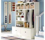Brady 4-Piece Double Bench Entryway System (1 Charge & Sort, 1 Locker, 2 Drawers), Cream