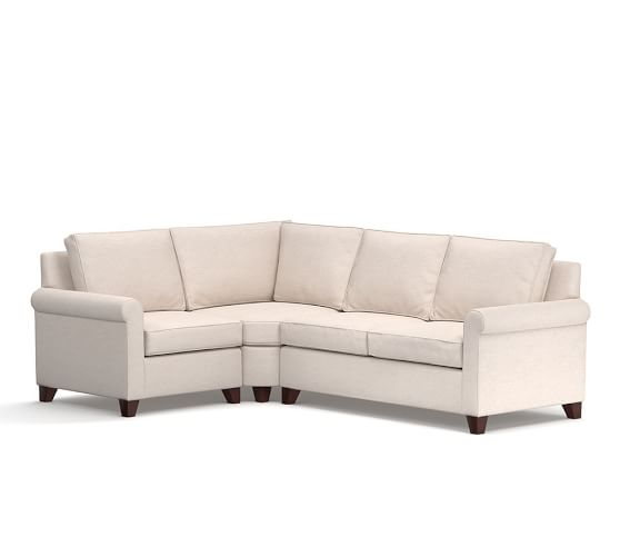 Cameron roll arm upholstered 3 piece sectional with wedge for Sectional sofa wedge table