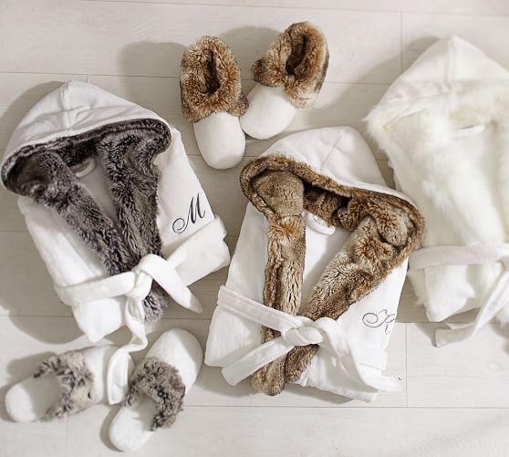 Faux Fur Robe Ivory Caramel Ombre Pottery Barn