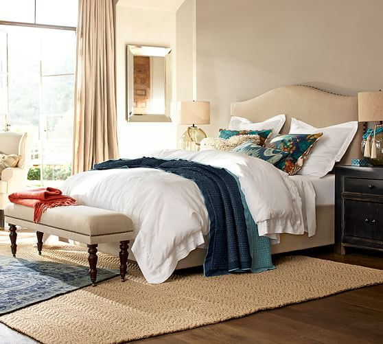 Bedroom Bench Pottery Barn Bedroom Paint Ideas Green Bedroom Ideas Blue And Yellow Bedroom Art Nz: Raleigh Upholstered Bench With Turned Legs
