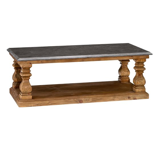 Sutton coffee table pottery barn for Stone and wood coffee table