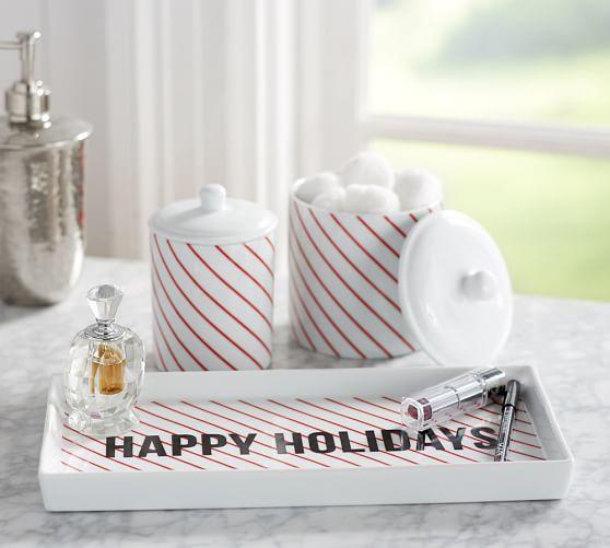 Striped bath accessories pottery barn for Striped bathroom accessories sets