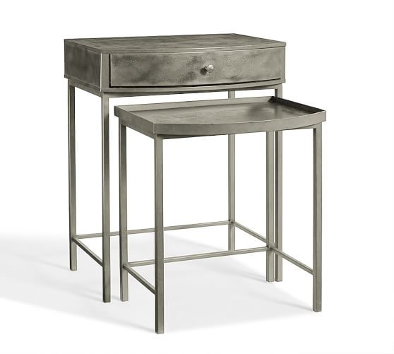 Woodrow metal nesting bedside tables set of pottery barn