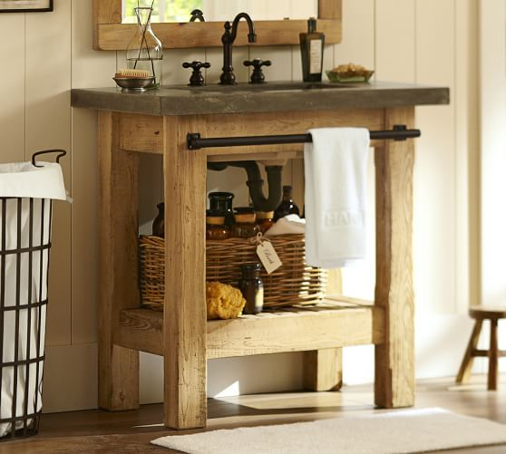 Rustic Industrial Light Steel And Barn Wood Vanity Light: Abbott Single Sink Console