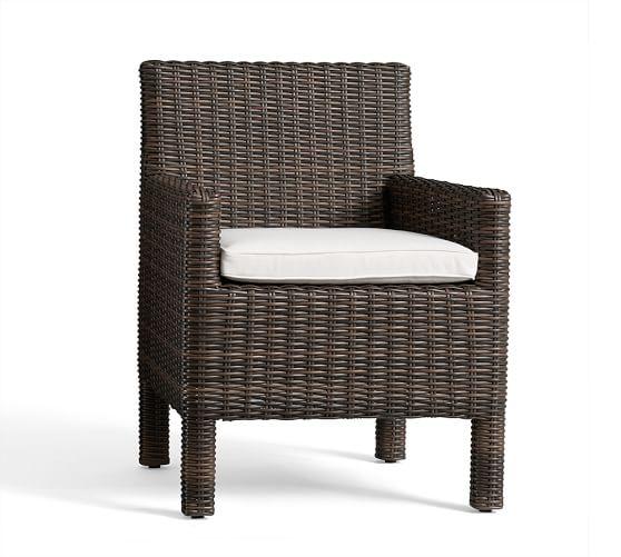 torrey all weather wicker square arm dining chair espresso pottery barn. Black Bedroom Furniture Sets. Home Design Ideas