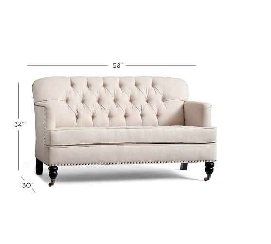 tudor upholstered mini sofa pottery barn. Black Bedroom Furniture Sets. Home Design Ideas