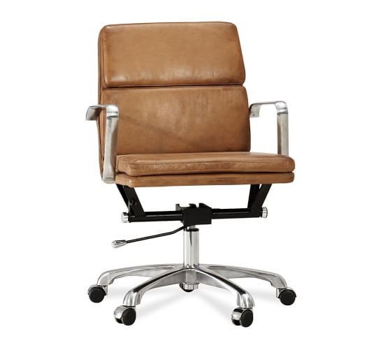 Nash leather swivel desk chair pottery barn for Chair with swivel desk