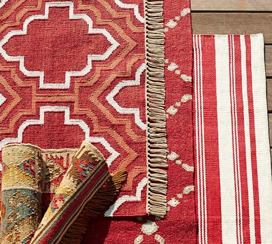 Borden Tile Recycled Yarn Indoor Outdoor Rug Red