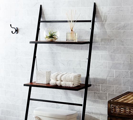 rustic over the toilet etagere pottery barn. Black Bedroom Furniture Sets. Home Design Ideas