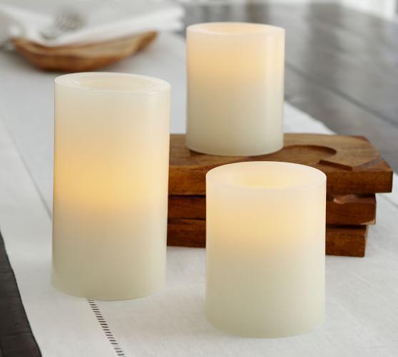 Pottery Barn Pillar Candles: Flameless Wax Pillar Candle - Ivory