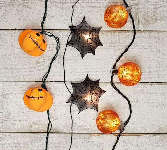Orange Mercury Glass Pumpkin String Lights Pottery Barn