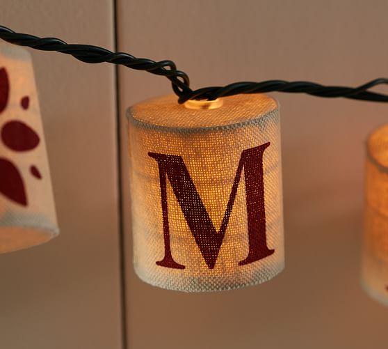 Burlap Merry & Bright String Lights Pottery Barn