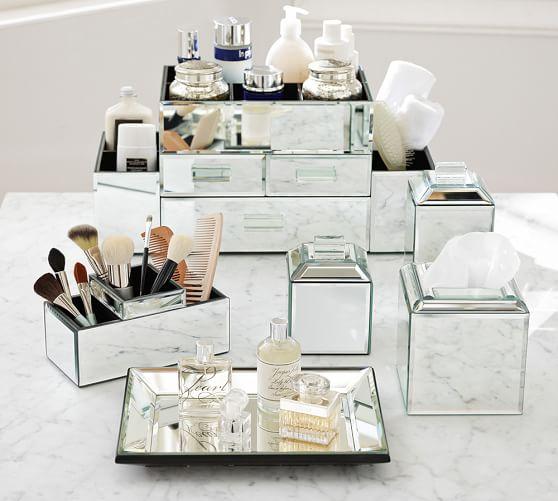Bathroom Accessories Set With Mirror : Mirrored bath accessories pottery barn