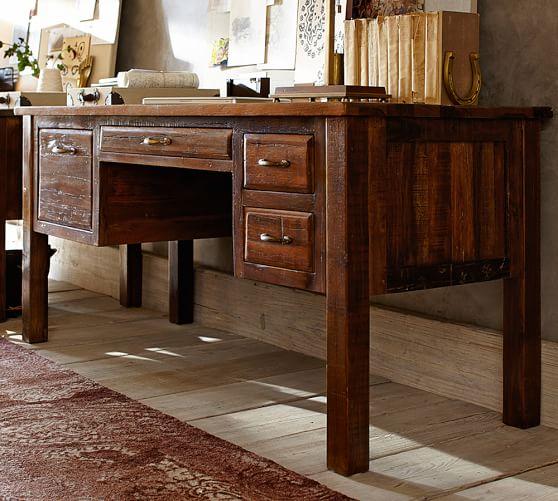 Bowry reclaimed wood desk pottery barn - Pottery barn office desk ...