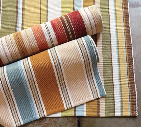 Striped Cotton Mat Green Pottery Barn
