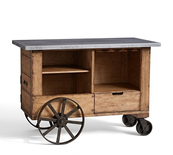 Harris Zinc Top Bar Cart Pottery Barn