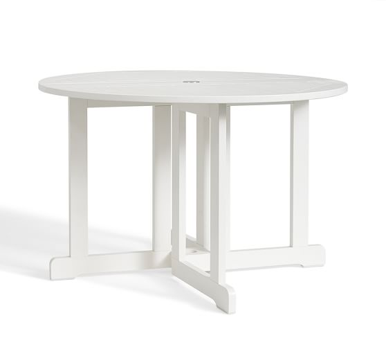 hampstead painted round drop leaf dining table white pottery barn