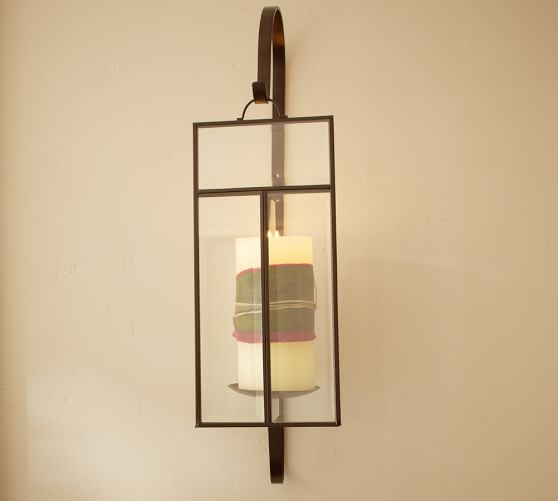 Wall Sconces For Candles With Glass : Paned Glass Wall Candle Sconce Pottery Barn