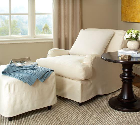 carlisle slipcovered ottoman pottery barn. Black Bedroom Furniture Sets. Home Design Ideas