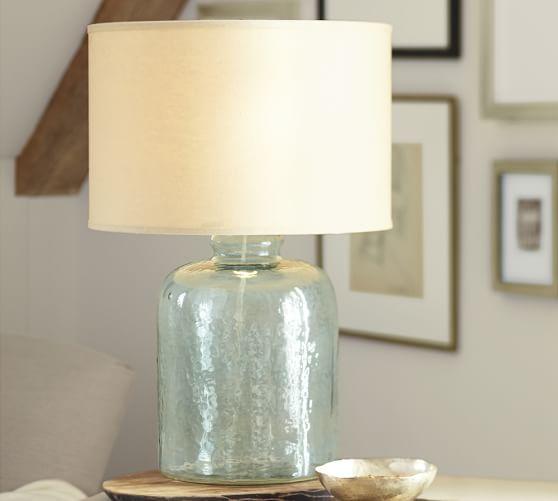 devin glass table lamp base pottery barn. Black Bedroom Furniture Sets. Home Design Ideas