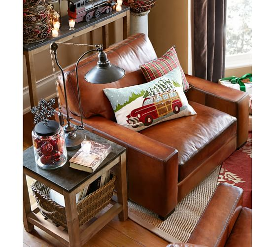 Woody Car Crewel Embroidered Lumbar Pillow Cover Pottery