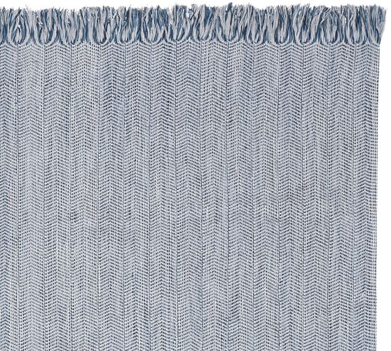 Chevron recycled yarn indoor outdoor rug blue pottery barn - Discontinued pottery barn rugs ...