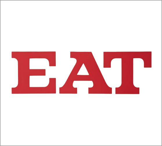 Eat Sign Painted Wood Wall Art on Kitchen With Red Accent Wall