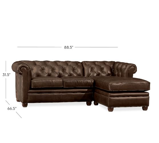 Chesterfield Leather Sofa with Chaise Sectional