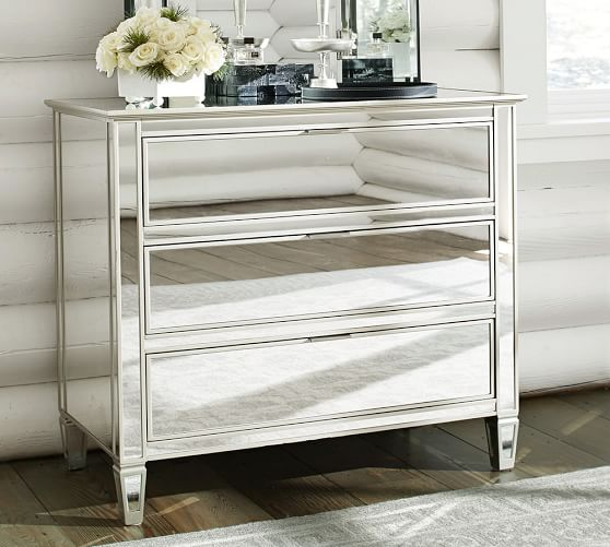 Pottery Barn Mirrored Furniture: Park Mirrored Dresser & Bedside Tables Set