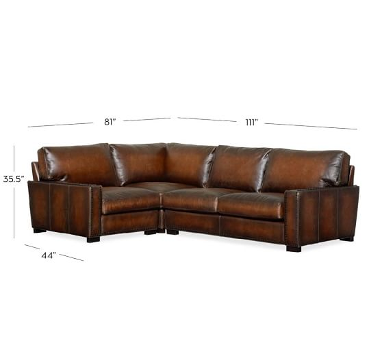 Turner square arm leather 3 piece sectional with corner for 3 piece corner sectional sofa