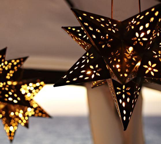 Pottery Barn Star String Lights : Bronze Star Luminary Pottery Barn