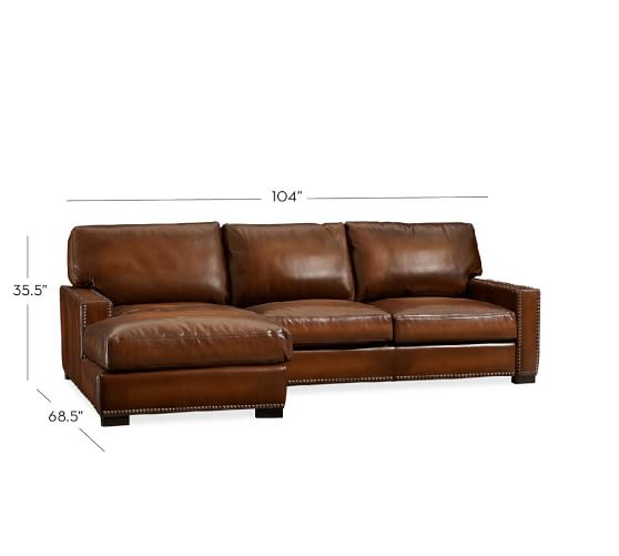 Turner Square Arm Leather Sofa With Chaise Sectional With Nailheads Pottery Barn