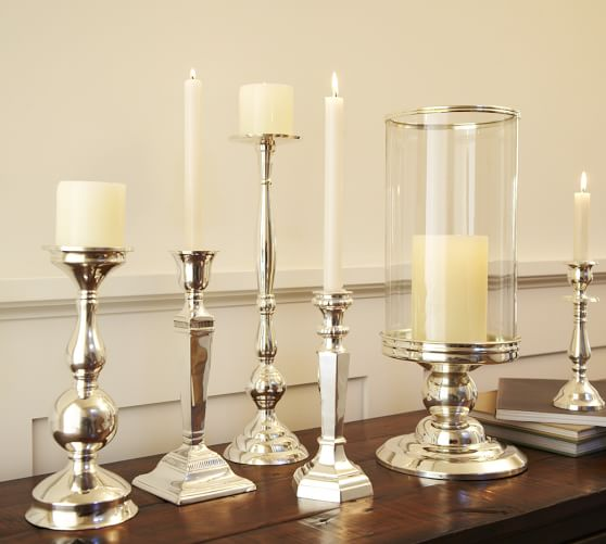 Eclectic Silver Plated Candlesticks Pottery Barn