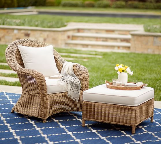 Torrey All-Weather Wicker Occasional Chair Ottoman