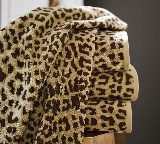 Leopard Jacquard 600-gram Weight Bath Towels | Pottery Barn