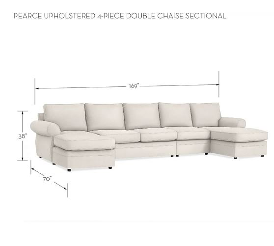 Pearce Upholstered 4-Piece Double Chaise Sectional