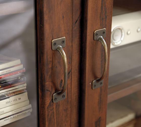 Printer's Double Glass Door Cabinet