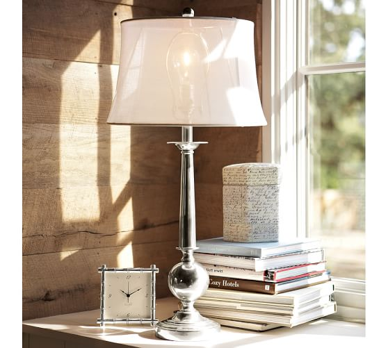 sheer linen tapered drum lamp shade pottery barn. Black Bedroom Furniture Sets. Home Design Ideas