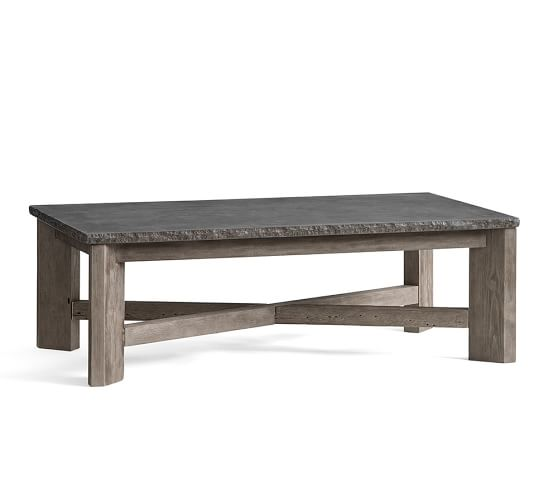 Fulton stone and wood coffee table pottery barn for Stone and wood coffee table