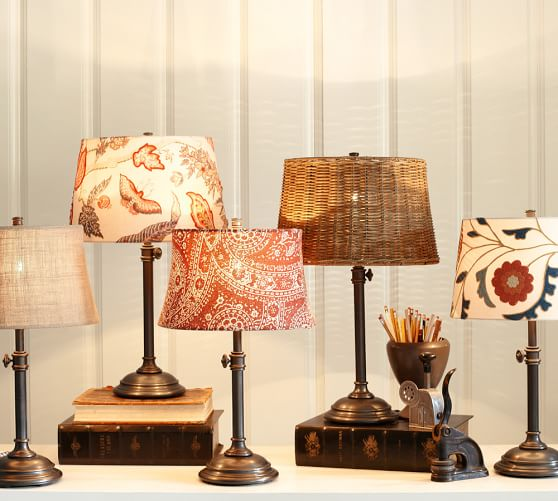 Pottery Barn Mini Lamp Shades: Woven Wicker Tapered Drum Lamp Shade