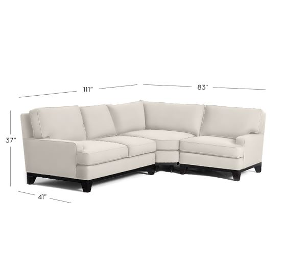 Seabury Upholstered 3 Piece Sectional With Wedge Pottery