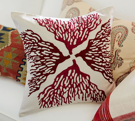 Reef Coral Embroidered Pillow Covers Pottery Barn