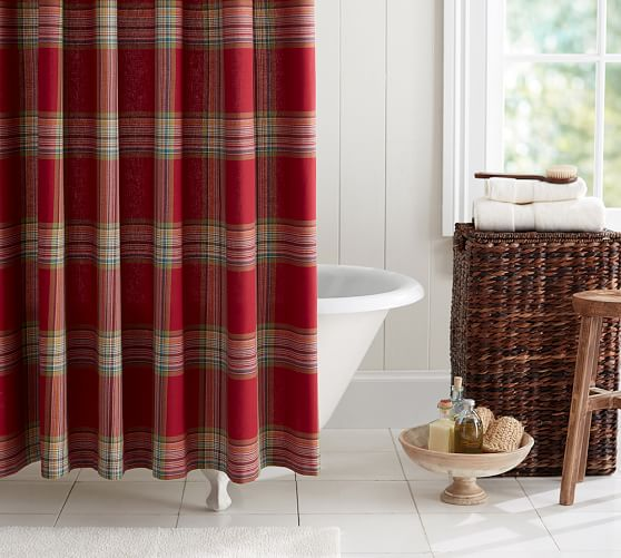 blake plaid shower curtain pottery barn