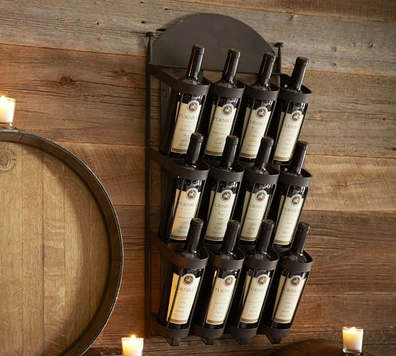 Vintners wall mount wine rack pottery barn for Pottery barn wine rack wood