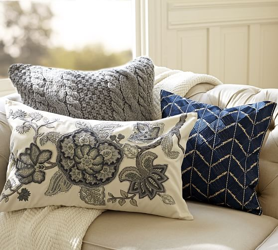 Embroidered Throw Pillows Pottery Barn : Phulkari Embroidered Chevron Pillow Cover Pottery Barn