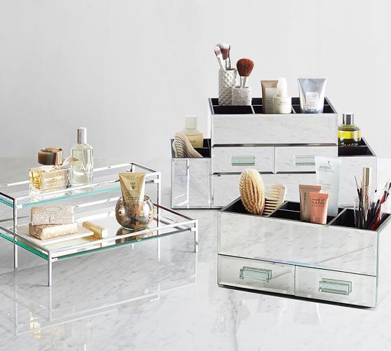 mirrored makeup storage pottery barn. Black Bedroom Furniture Sets. Home Design Ideas