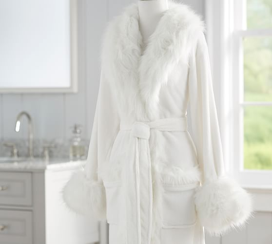 Faux Fur Robe Without Hood Ivory Pottery Barn